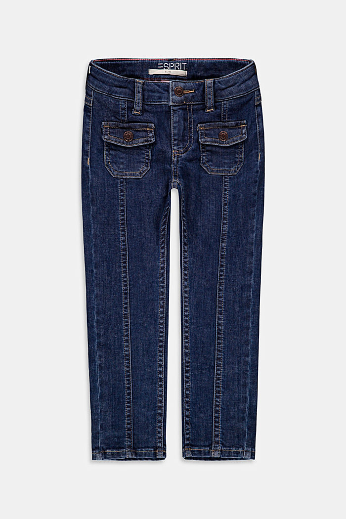 Jeans with patch pockets, adjustable waistband