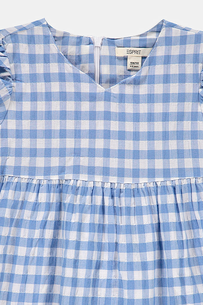 Fresh gingham check midi dress made of woven fabric, LIGHT BLUE, detail image number 2