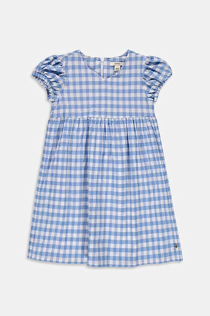 Fresh gingham check midi dress made of woven fabric, LIGHT BLUE, detail image number 0