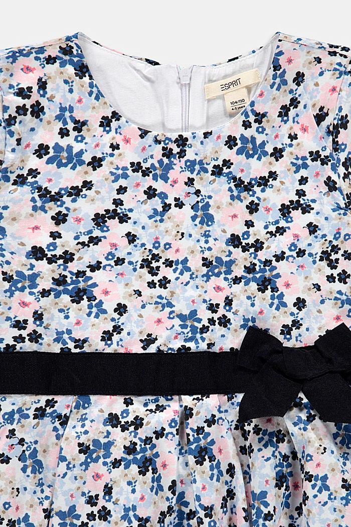 Florale bedrucktes Kleid mit Ripsbandschleife, WHITE, detail image number 2