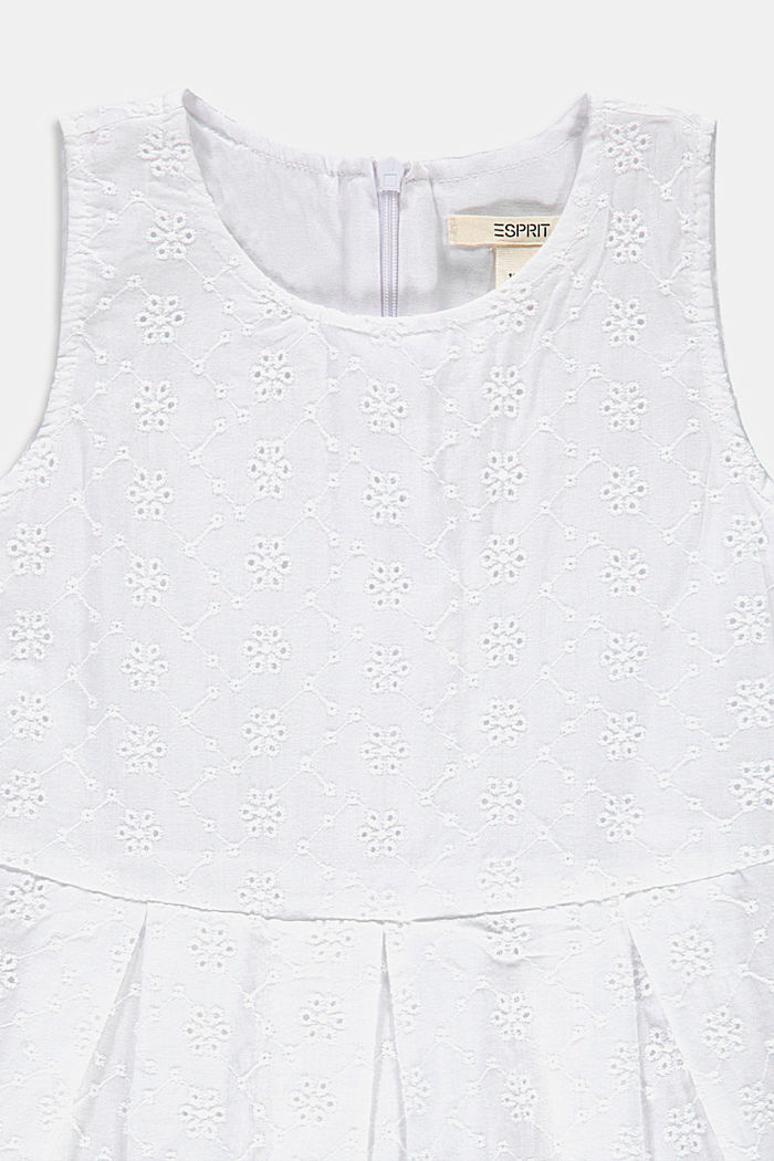 Ausgestelltes Kleid mit Lochstickerei, WHITE, detail image number 2