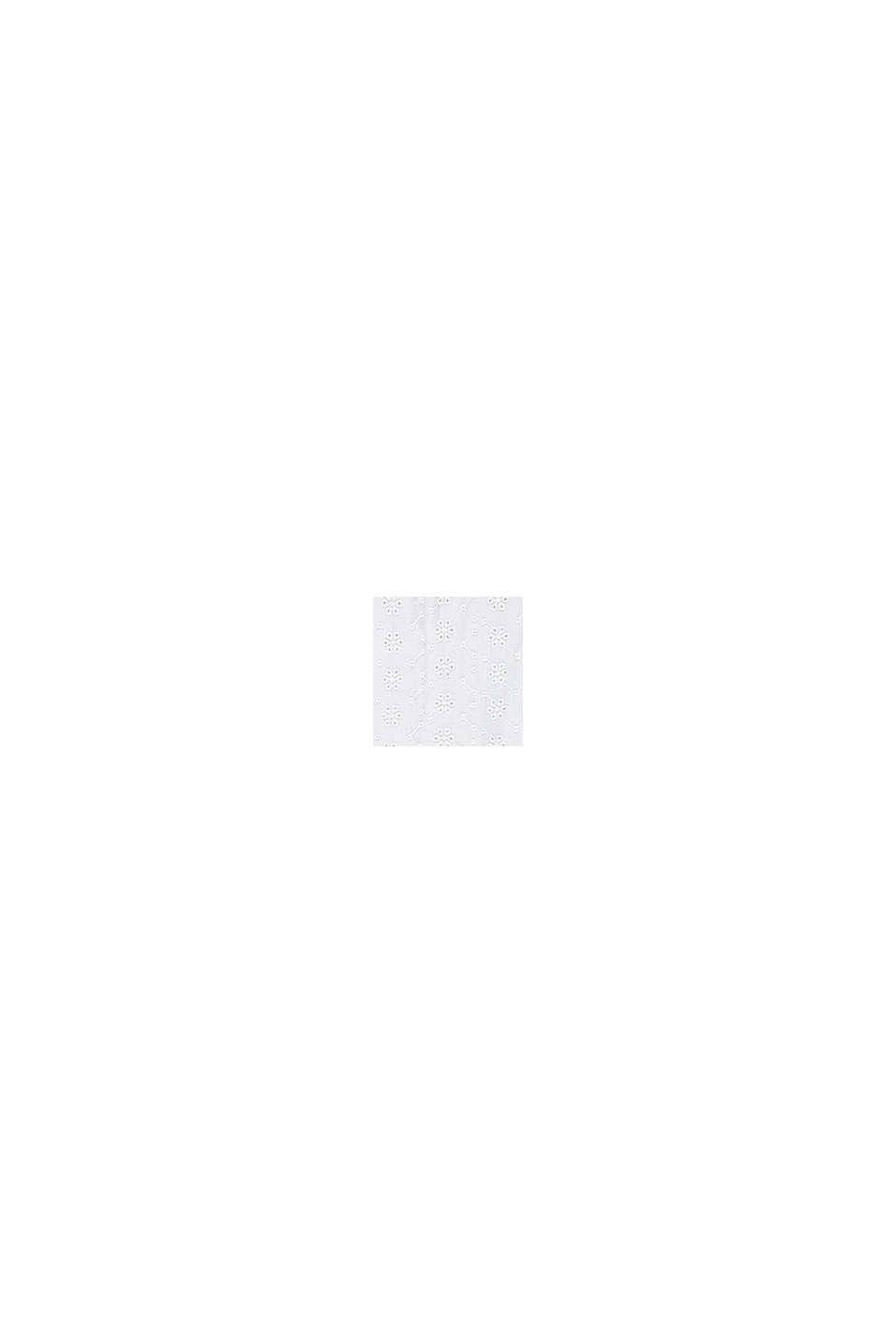 Uitlopende jurk met broderie, WHITE, swatch