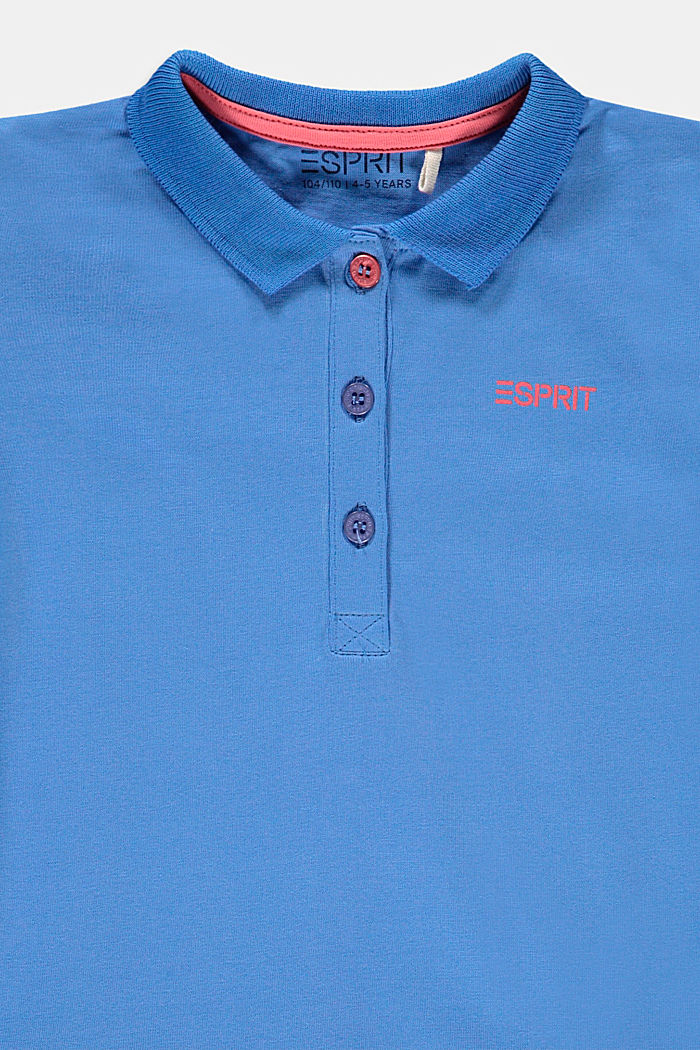 Jersey polo dress, stretch cotton, LIGHT BLUE, detail image number 2