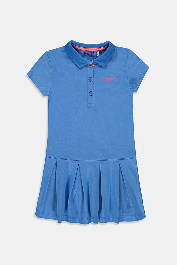 Jersey polo dress, stretch cotton, LIGHT BLUE, detail image number 0