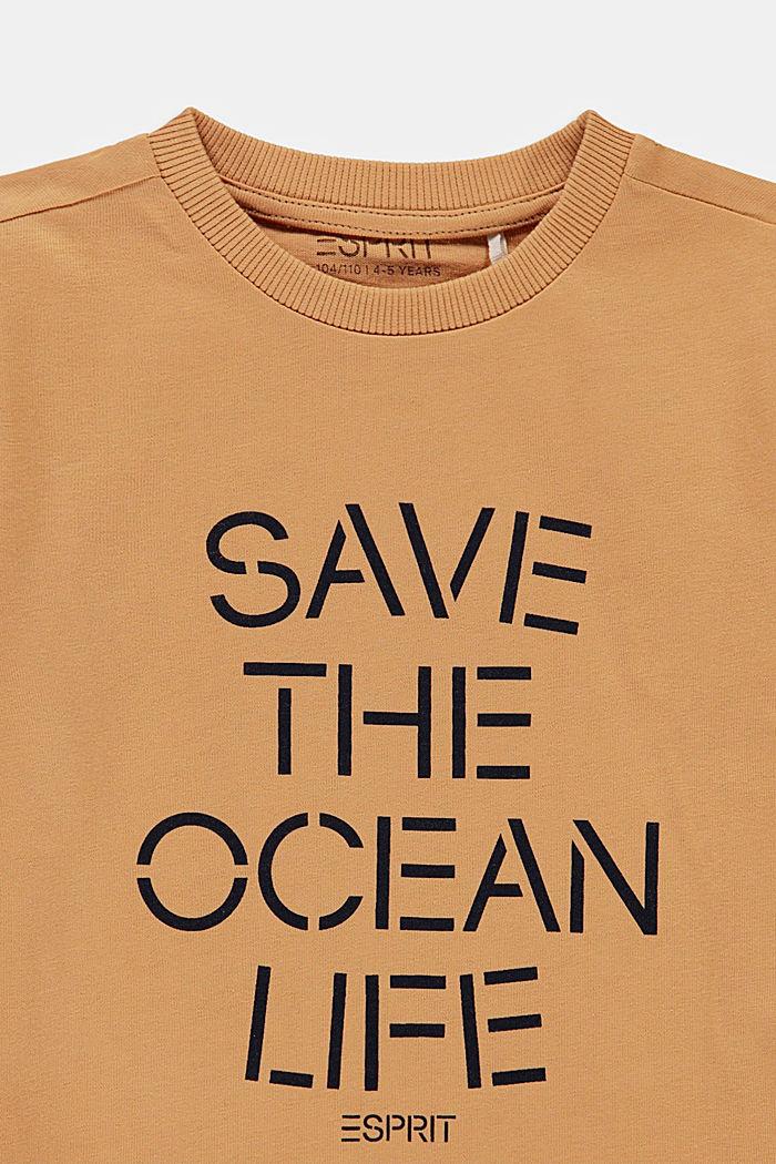 Statement T-shirt made of 100% cotton, CARAMEL, detail image number 2