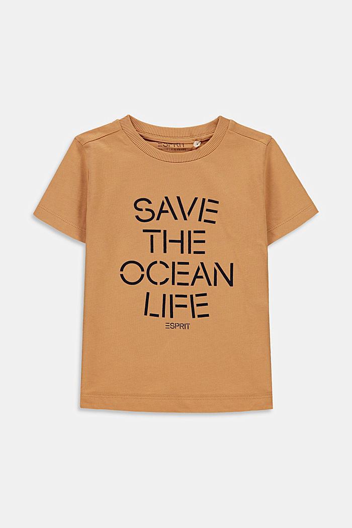 Statement T-shirt made of 100% cotton, CARAMEL, detail image number 0