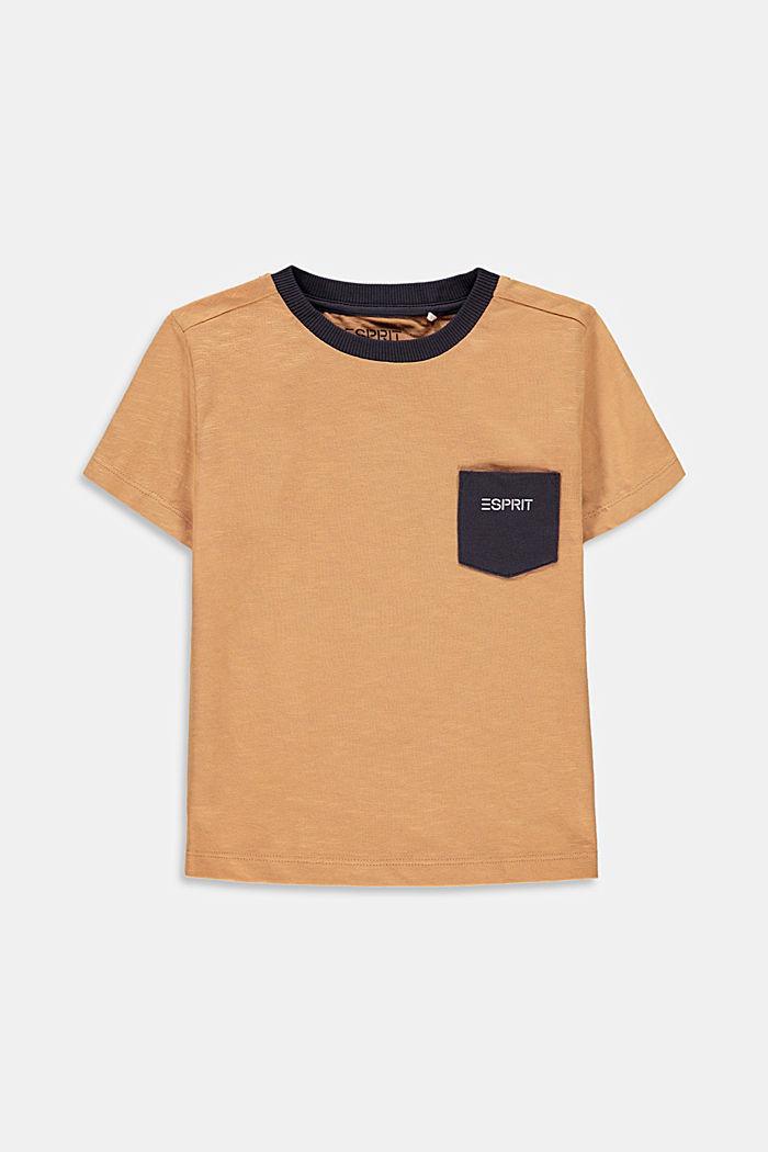 T-shirt en jersey flammé à poche, 100% coton, OLD PINK, detail image number 0
