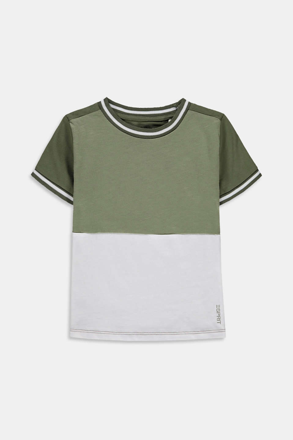 Esprit - Colourblock-shirt i 100% bomuld