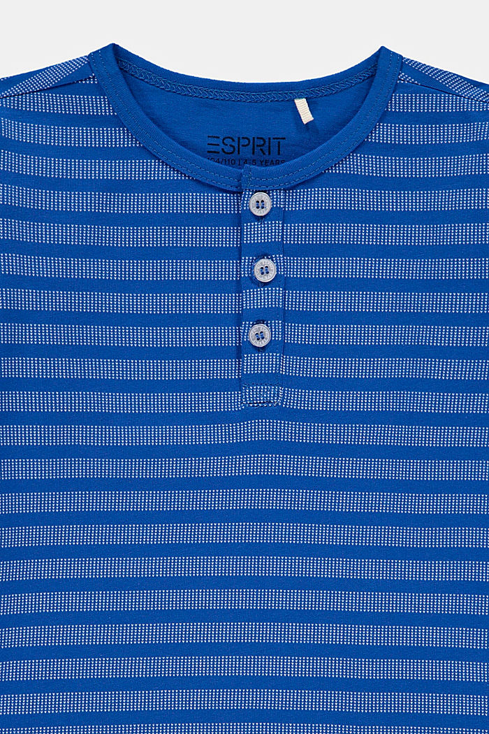 Striped Henley long sleeve top, 100% cotton, TURQUOISE, detail image number 2