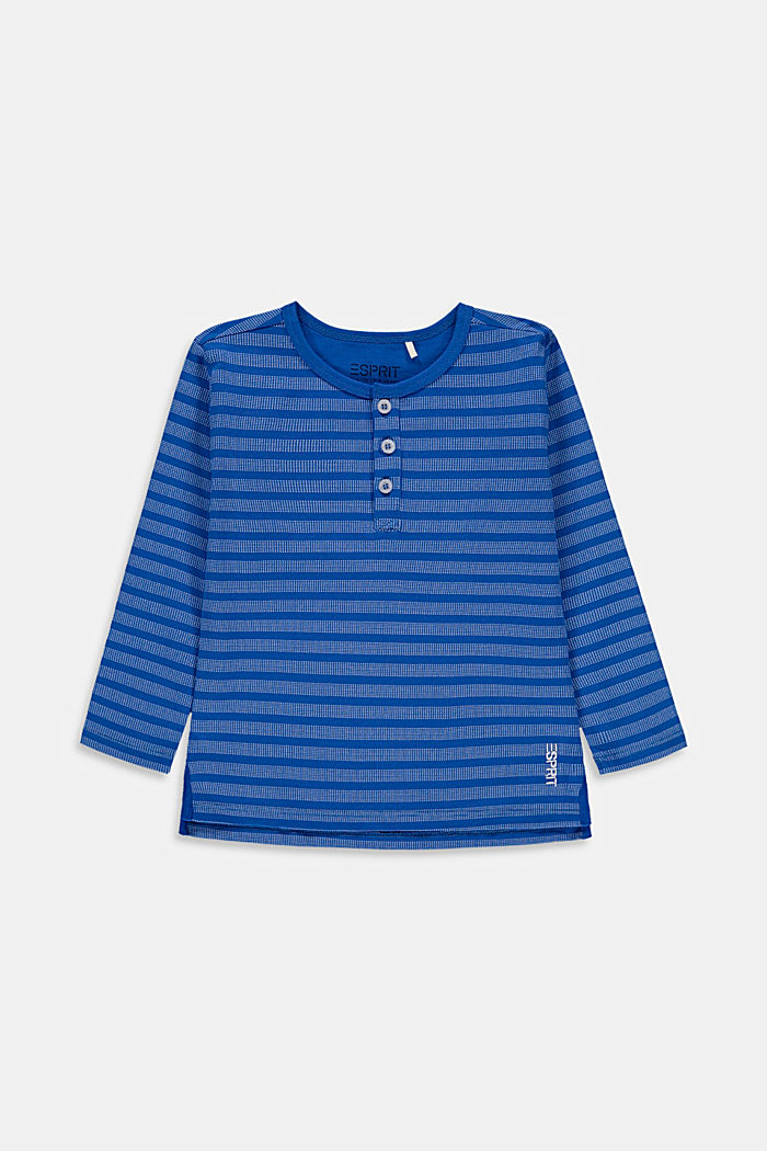 Striped Henley long sleeve top, 100% cotton