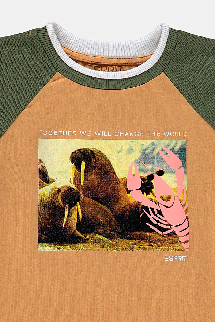 Long sleeve top with a photo print, 100% cotton , CARAMEL, detail image number 2
