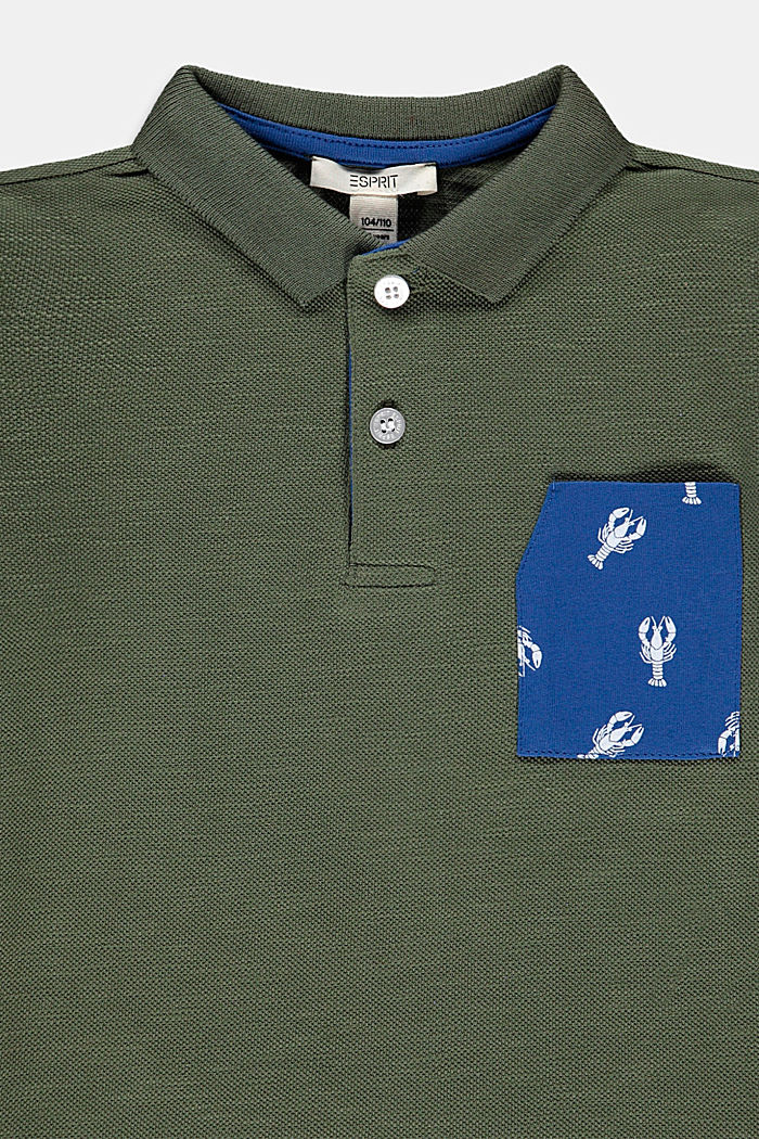 Piqué poloshirt met zak met print, 100% katoen, DARK KHAKI, detail image number 2