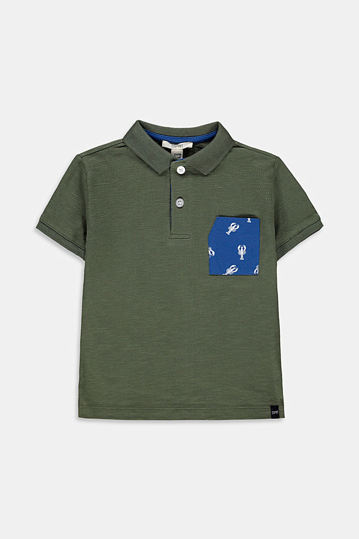 Piqué polo shirt with a printed pocket, 100% cotton