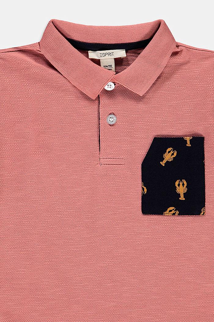 Polokošile z piké, s potištěnou kapsou, 100% bavlna, OLD PINK, detail image number 2