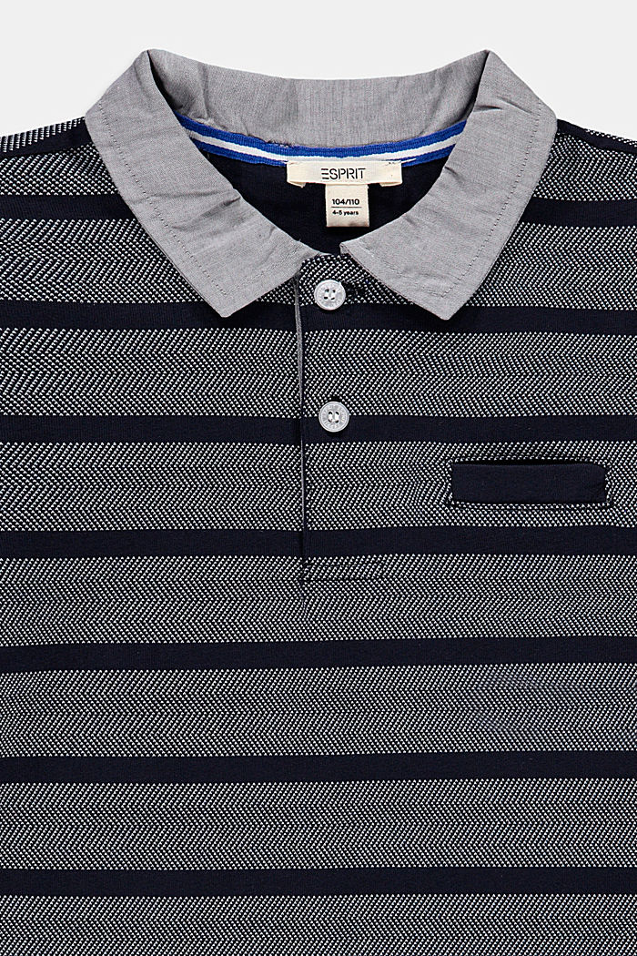 100% cotton polo shirt with a fabric collar, NAVY, detail image number 2