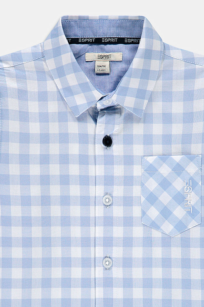 100% cotton shirt with gingham checks, PASTEL BLUE, detail image number 2