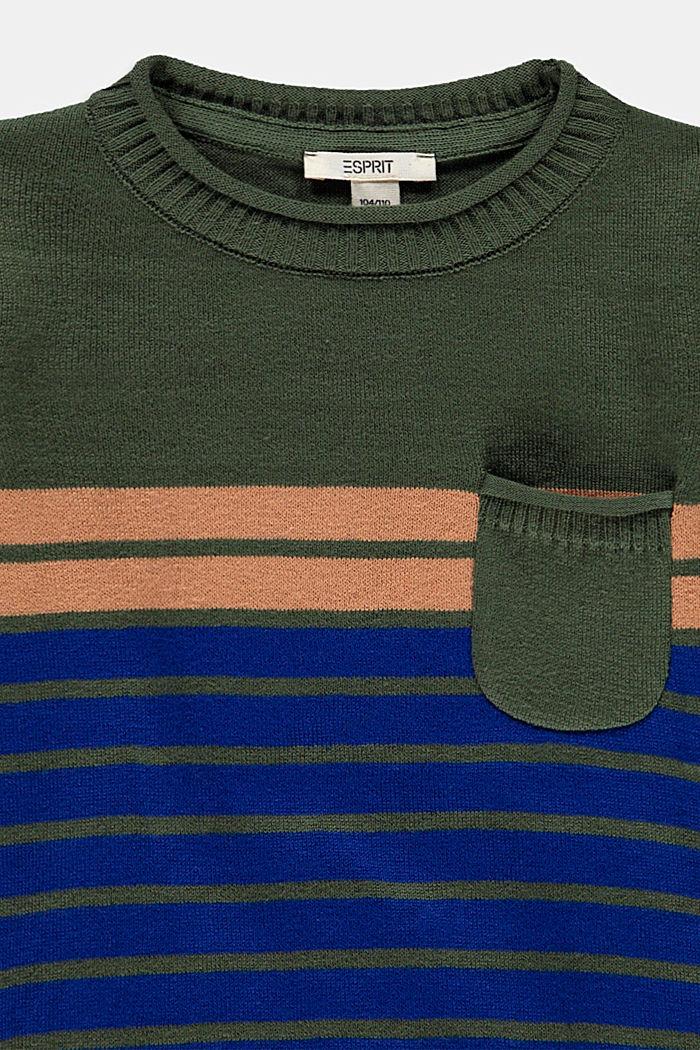 Striped jumper in 100% cotton, DARK KHAKI, detail image number 2