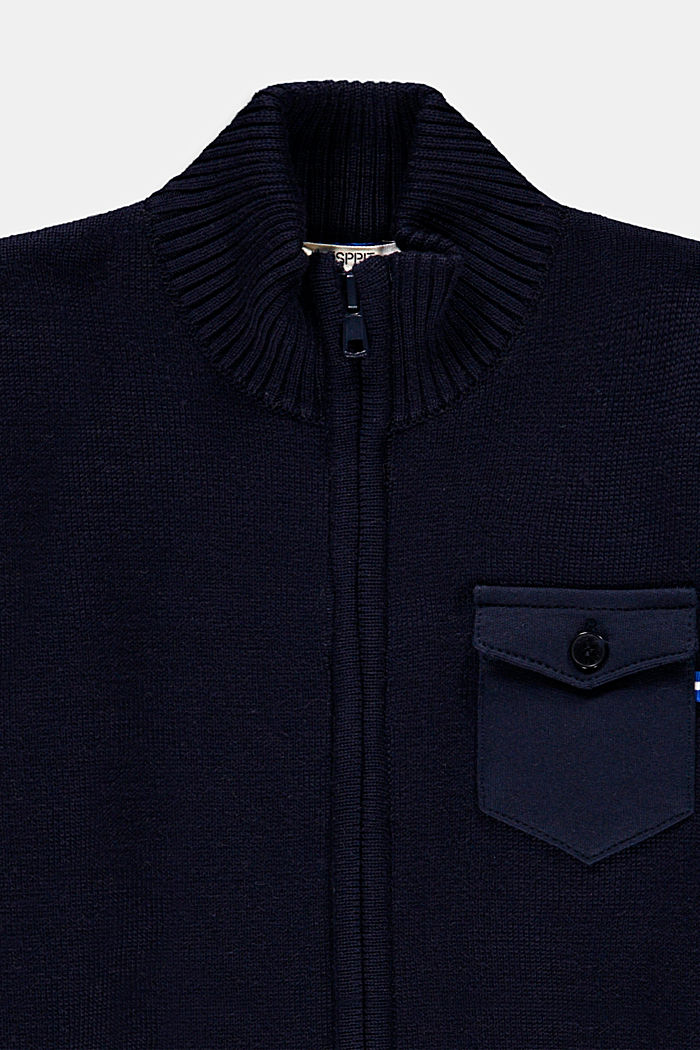Zip-up cardigan made of 100% cotton, NAVY, detail image number 2