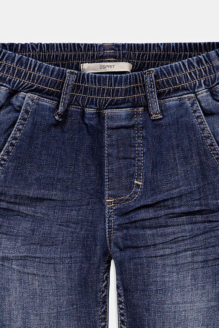 Denim shorts with an elasticated waistband, BLUE DARK WASHED, detail image number 2