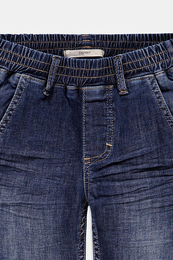 Denim short met elastische band, BLUE DARK WASHED, detail image number 2