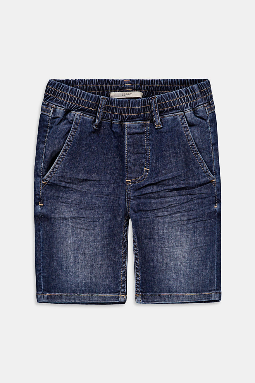 Denim short met elastische band