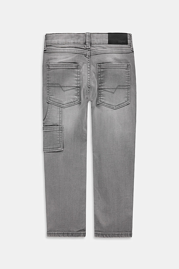 Jeans in worker-stijl, met verstelbare band, GREY MEDIUM WASHED, detail image number 1