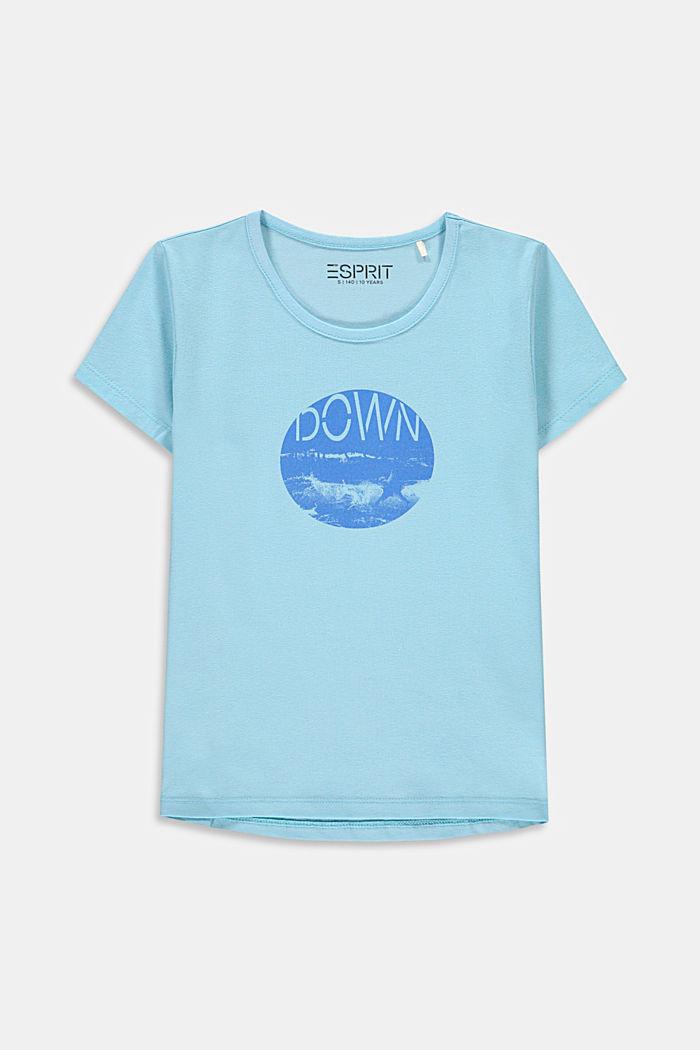 T-Shirt mit Print aus Baumwoll-Stretch, LIGHT TURQUOISE, detail image number 0