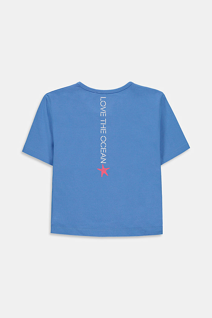 Cropped T-shirt with a print on the back, LIGHT BLUE, detail image number 1