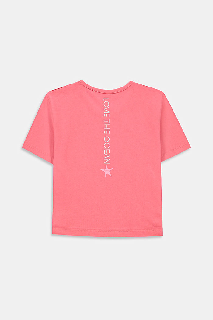 Cropped T-shirt with a print on the back, CORAL, detail image number 1