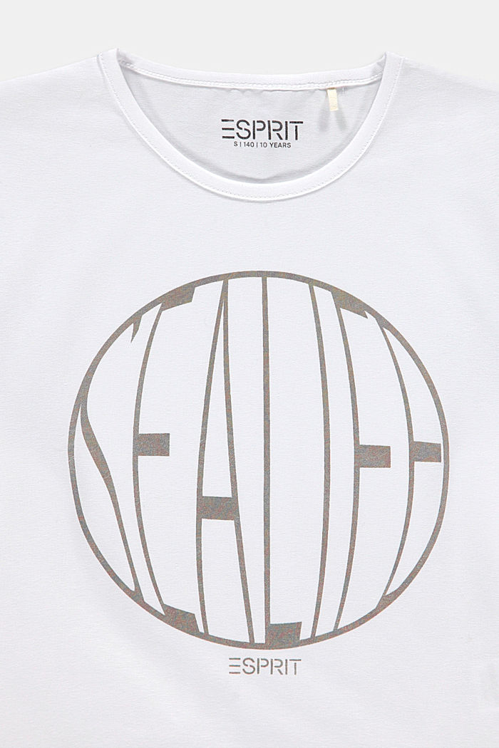 Cropped boxy T-shirt with shiny print, WHITE, detail image number 2
