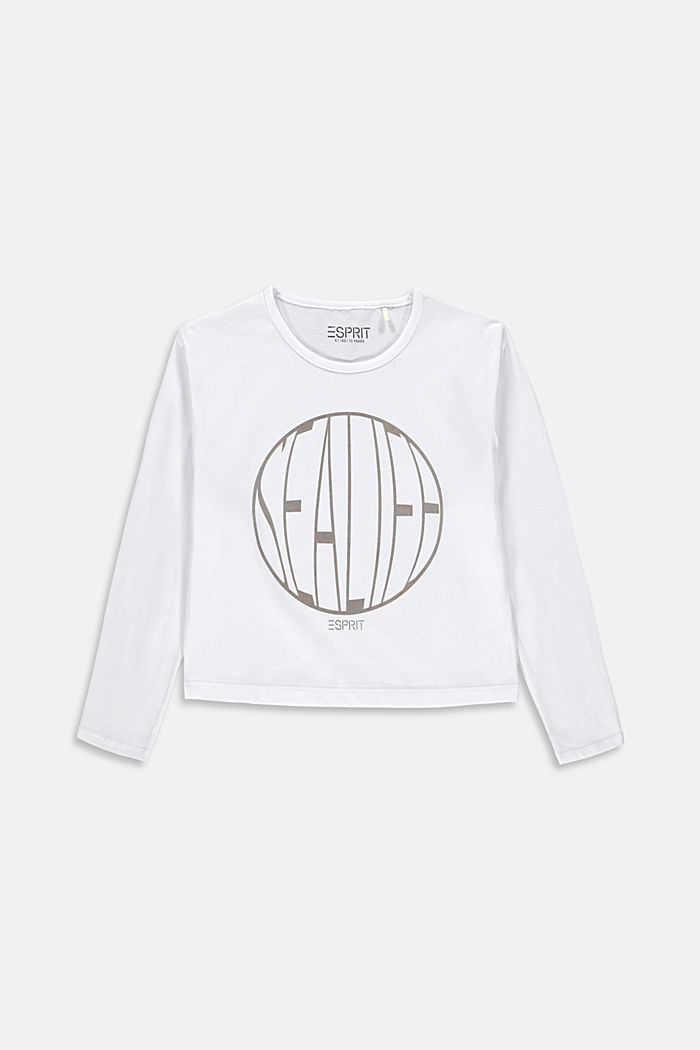 Cropped boxy T-shirt with shiny print, WHITE, detail image number 0