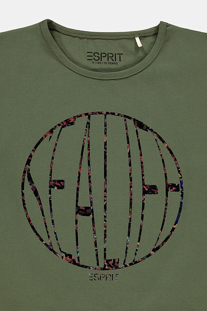 Cropped boxy T-shirt with shiny print, DARK KHAKI, detail image number 2
