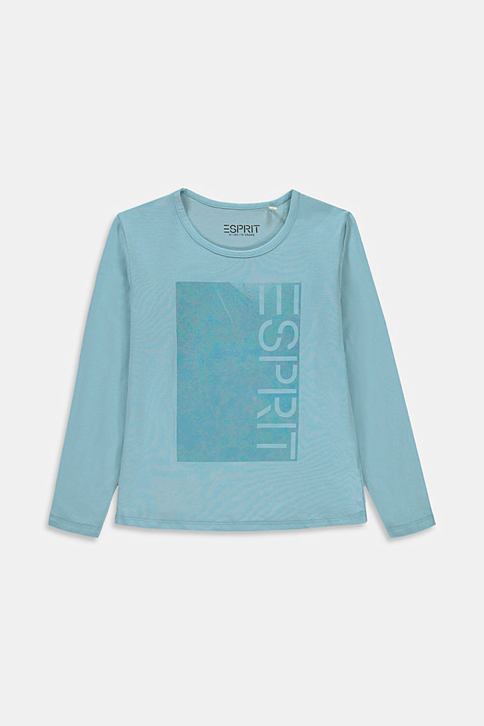 Longsleeve met glanzende logoprint, LIGHT TURQUOISE, detail image number 0