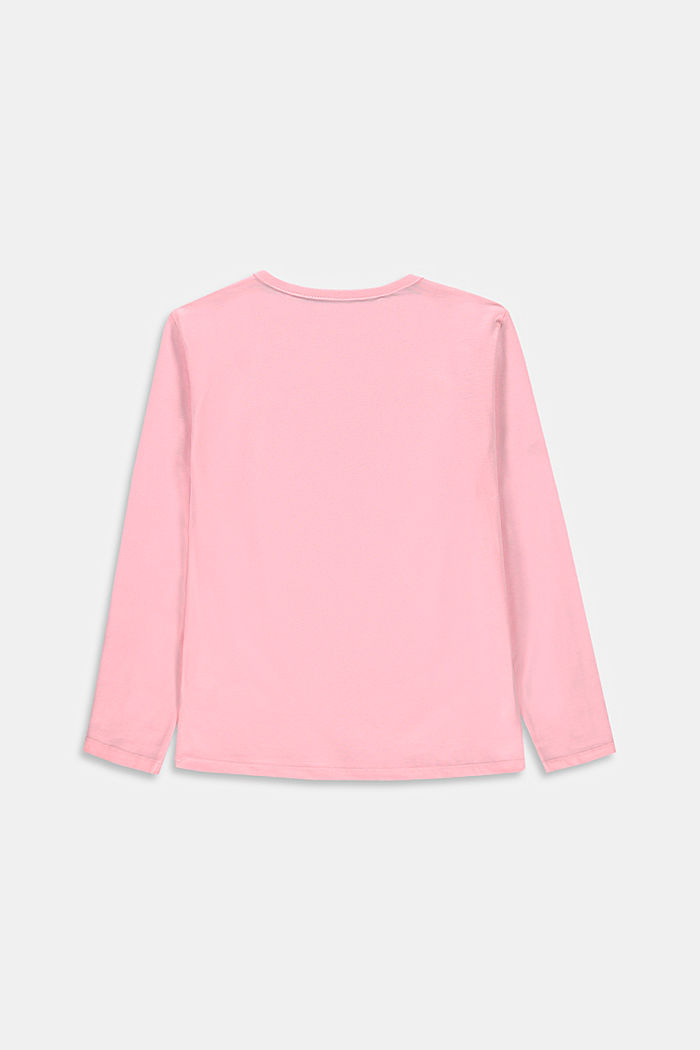 Long sleeve top with a shiny logo print, BLUSH, detail image number 1