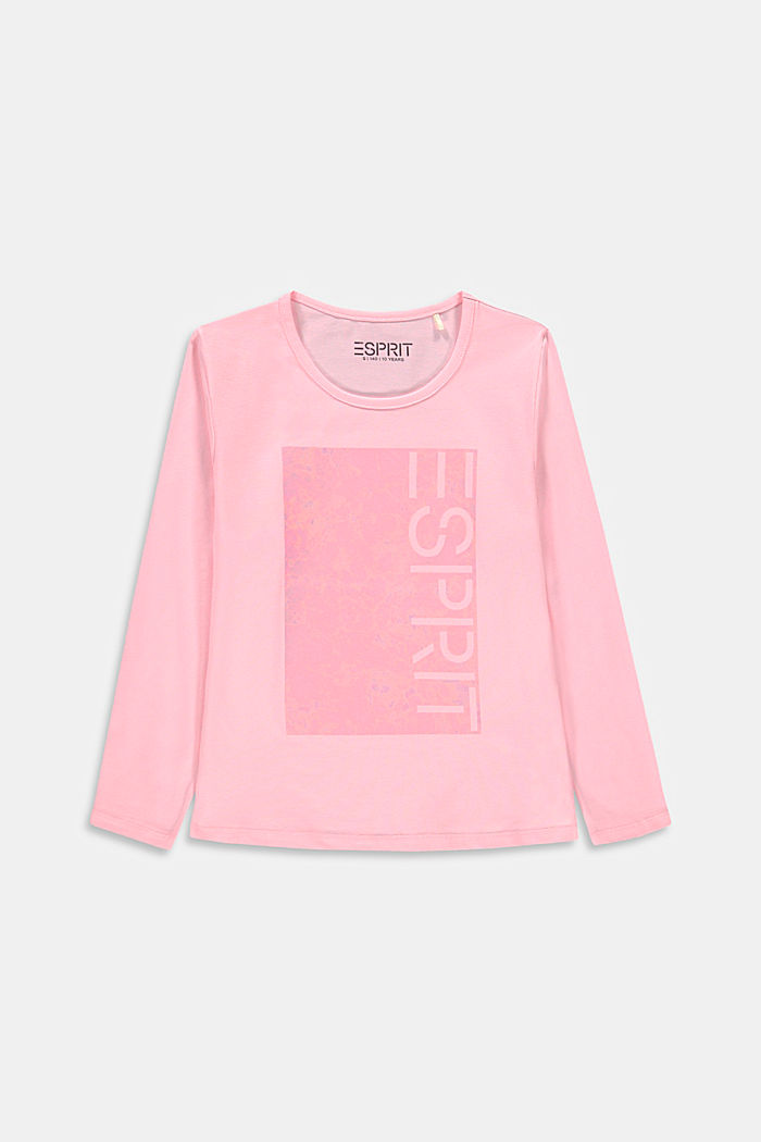 Long sleeve top with a shiny logo print, BLUSH, detail image number 0