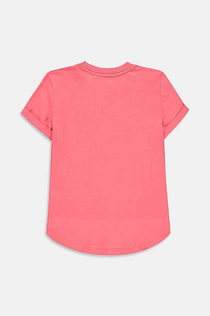 Slub T-shirt with print, 100% cotton, CORAL, detail image number 1