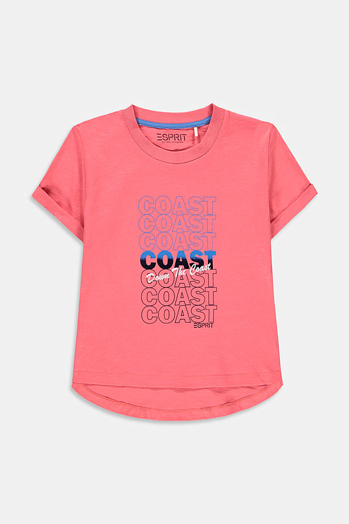 Slub T-shirt with print, 100% cotton, CORAL, detail image number 0