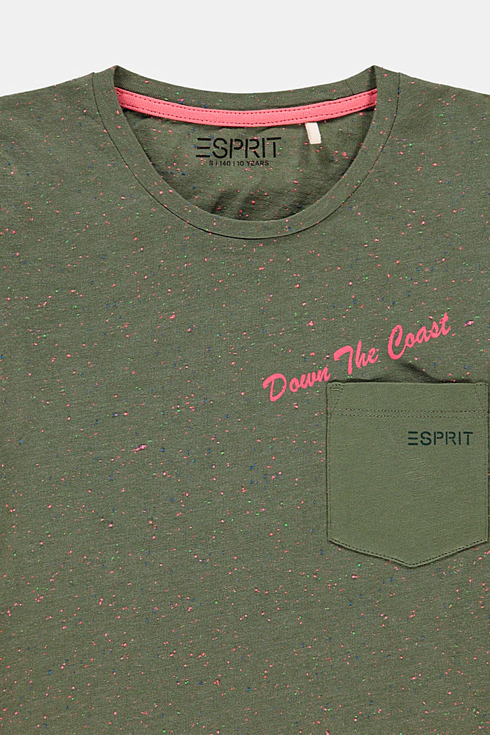 T-shirt met kleurrijke noppenstructuur, DARK KHAKI, detail image number 2