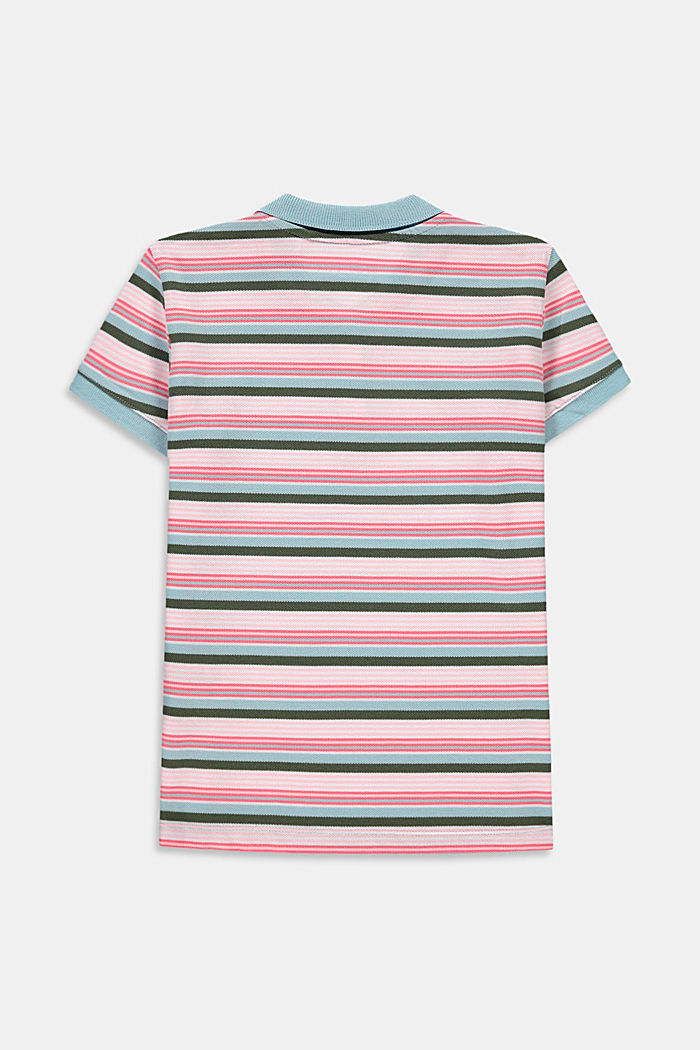 Striped polo shirt in cotton piqué, LIGHT TURQUOISE, detail image number 1