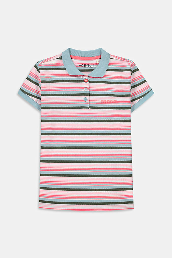 Striped polo shirt in cotton piqué, LIGHT TURQUOISE, detail image number 0