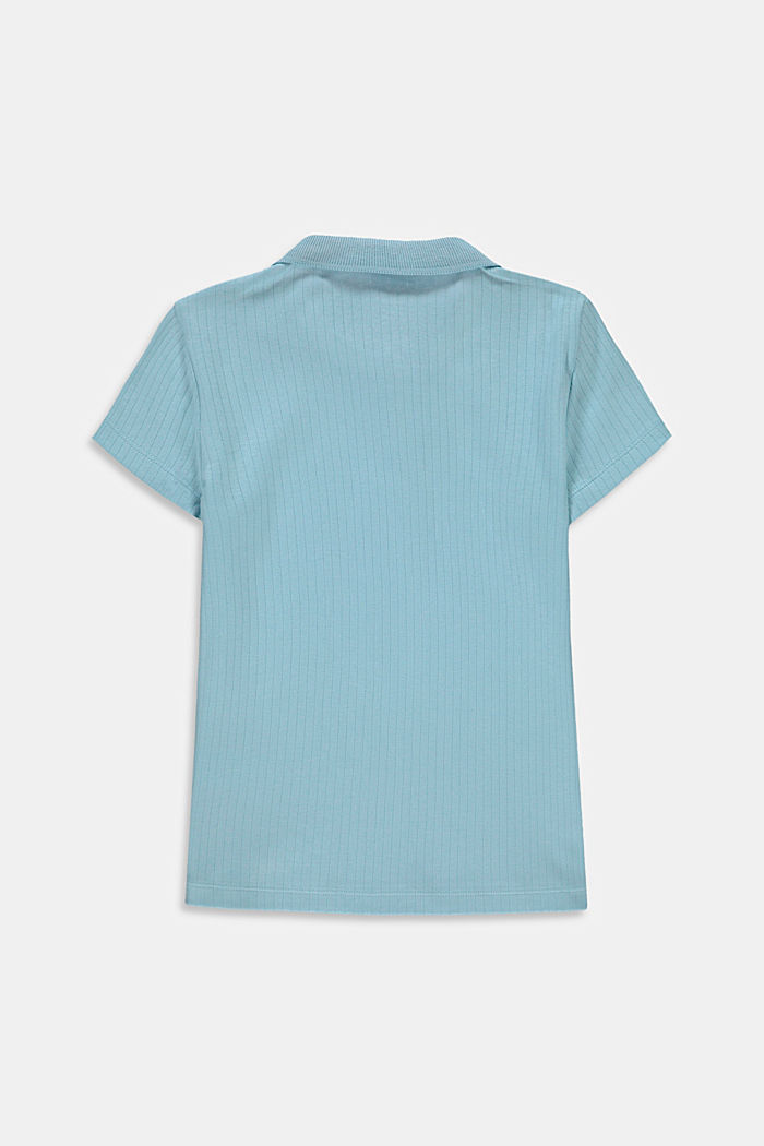 Ribbed polo shirt made of 100% cotton, LIGHT TURQUOISE, detail image number 1