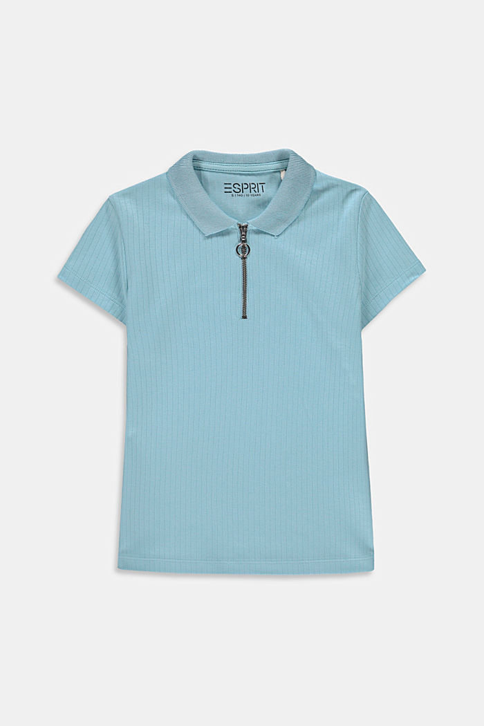 Ribbed polo shirt made of 100% cotton, LIGHT TURQUOISE, detail image number 0