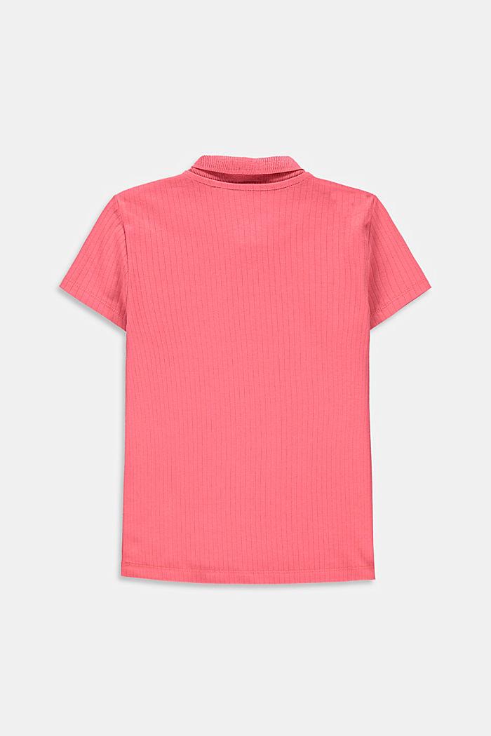 Polo acanalado en 100% algodón, CORAL, detail image number 1