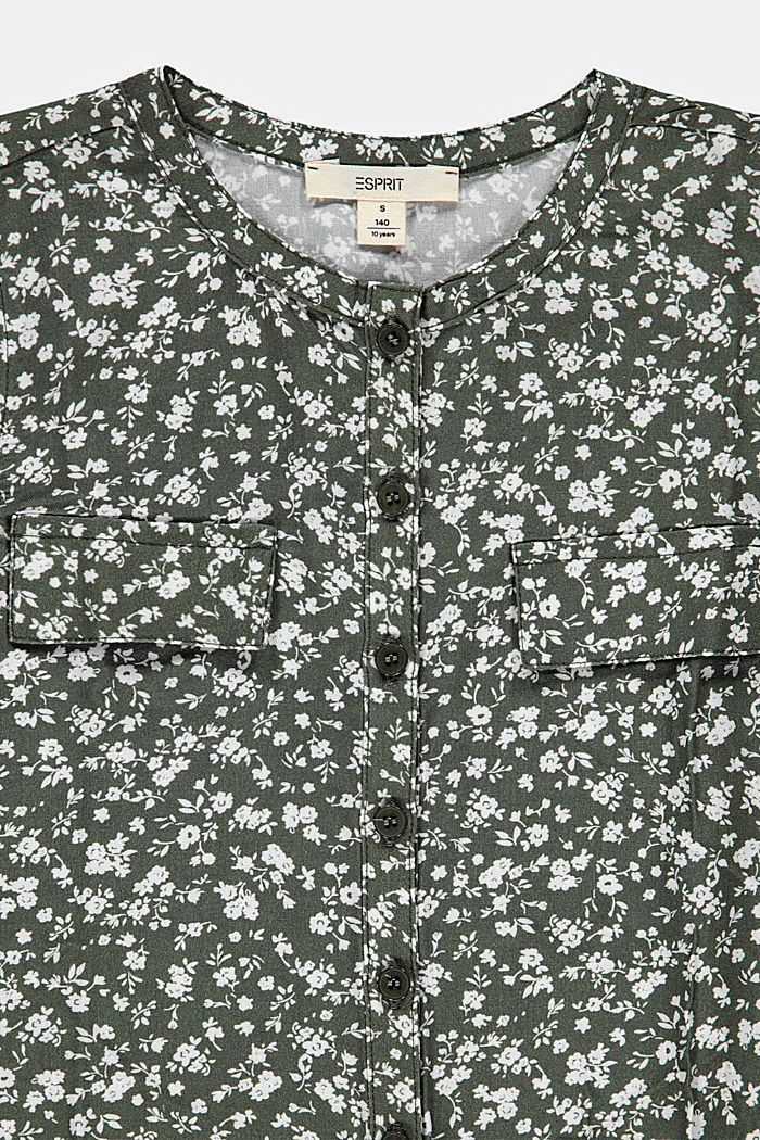 Floral printed blouse top with knots, DARK KHAKI, detail image number 2