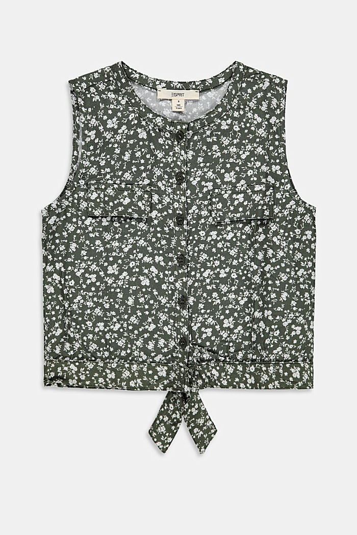 Floral printed blouse top with knots, DARK KHAKI, detail image number 0