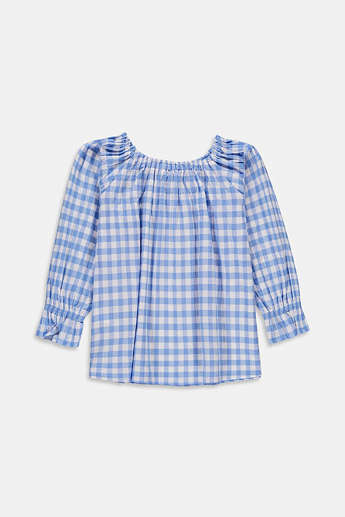 Off-the-shoulder blouse with a gingham check pattern, LIGHT BLUE, detail image number 1