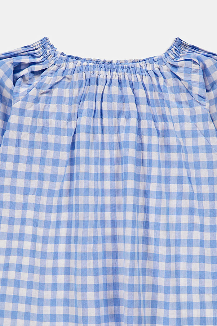 Off-the-shoulder blouse with a gingham check pattern, LIGHT BLUE, detail image number 2