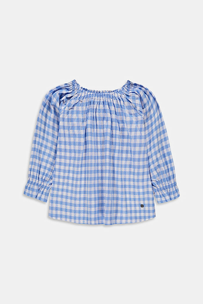 Off-the-shoulder blouse with a gingham check pattern, LIGHT BLUE, detail image number 0