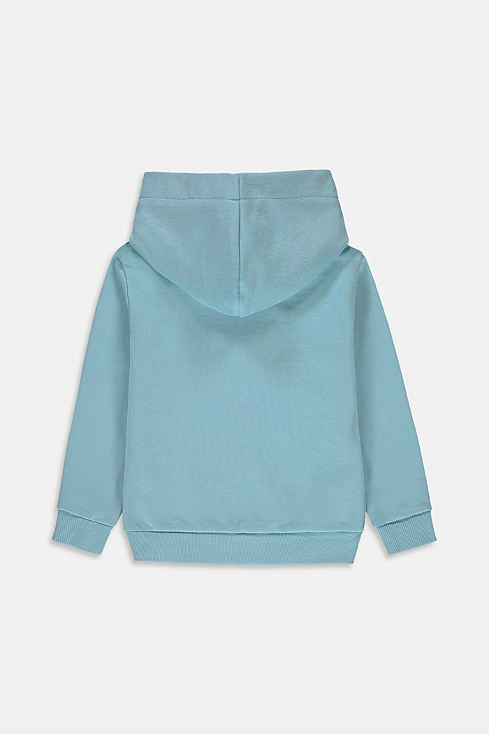 Hoodie with logo print, 100% cotton, LIGHT TURQUOISE, detail image number 1