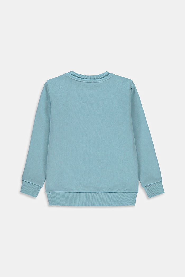 Logo sweatshirt in 100% cotton, LIGHT TURQUOISE, detail image number 1